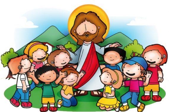 Disegno colorato di Gesù con attorno dei bambini per la catechesi dei bambini