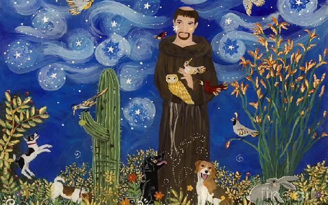 Anche il creato  nella redenzione dell'uomo - Frate nella natura con animali
