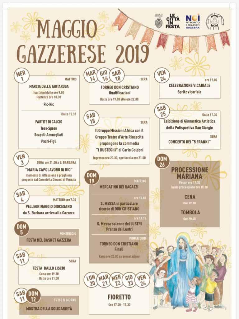 Maggio Gazzerese 2019 –   Il programma dei festeggiamenti